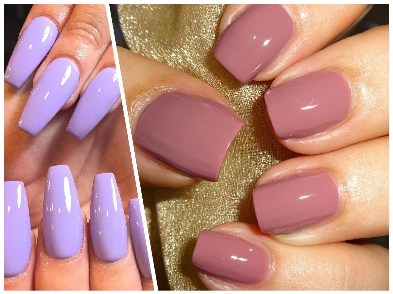 λιλά/ ροζ νύχια