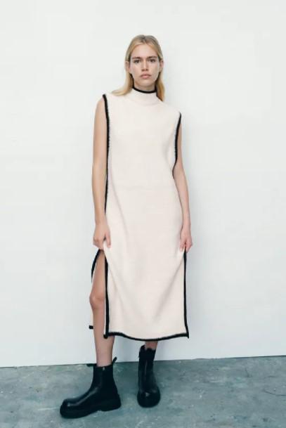 μακρύ πλεκτό φόρεμα ρούχα Zara xειμώνα 2021-2022