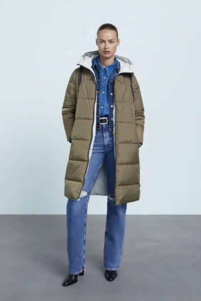 μακρύ πουπουλένιο μπουφάν ρούχα Zara xειμώνα 2021-2022