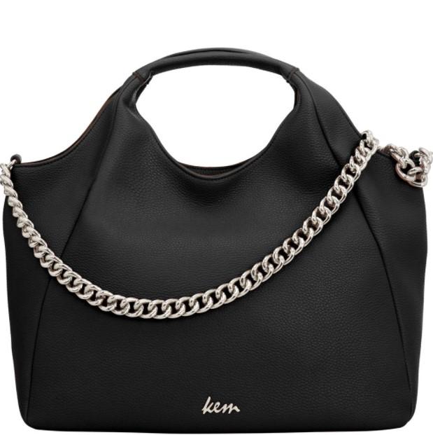 μαύρη τσάντα ασημί λαβή