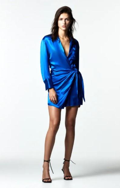μίνι μπλε φόρεμα ρούχα Zara xειμώνα 2021-2022