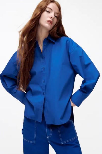 μπλε πουκάμισο ρούχα Zara xειμώνα 2021-2022