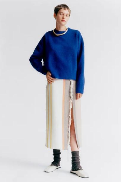 μπλε πουλόβερ ρούχα Zara xειμώνα 2021-2022