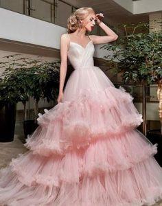 ροζ νυφικο με φραμπαλα