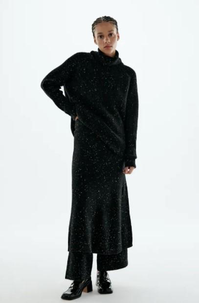 πλεκτή φούστα πουλόβερ