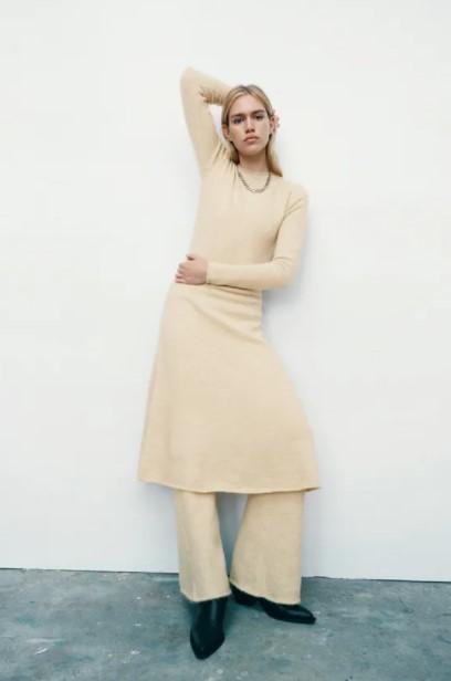 πλεκτό φόρεμα παντελόνι