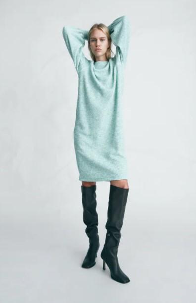 πλεκτό γαλάζιο φόρεμα ρούχα Zara xειμώνα 2021-2022