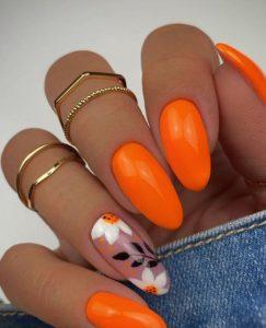 πορτοκαλί floral νύχια