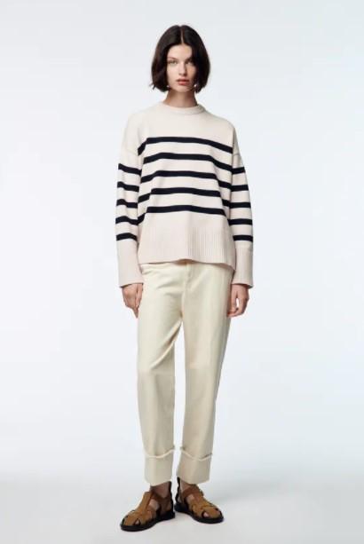 ριγέ ασπρόμαυρο πουλόβερ ρούχα Zara xειμώνα 2021-2022