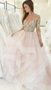 ροζ νυφικο με δαντελα