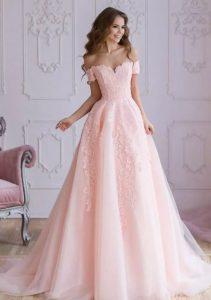 ροζ νυφικο με μανικι