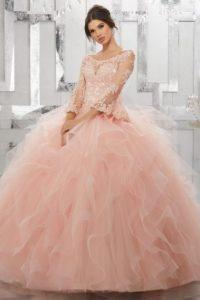 ροζ φουντωτο νυφικο