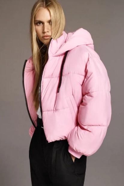 ροζ puffer μπουφάν