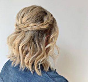 στεφανάκι με πλεξούδα σε κοντό μαλλί