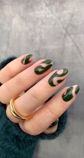 swirl χακί μπεζ νύχια