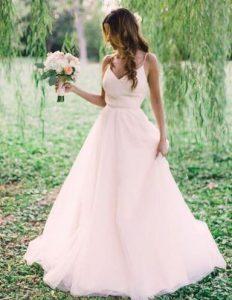 μινιμαλ ροζ νυφικο