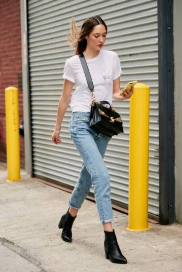 τζιν παντελόνι μαύρο μποτάκι παπούτσια jean