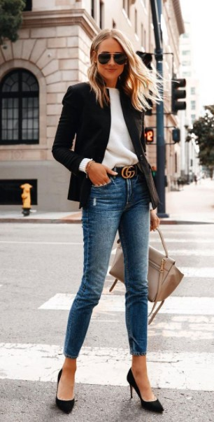 τζιν παντελόνι μαύρο σακάκι