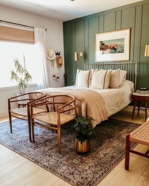 υπνοδωμάτιο πράσινος τοίχος φθινοπωρινή διακόσμηση κρεβατοκάμαρας
