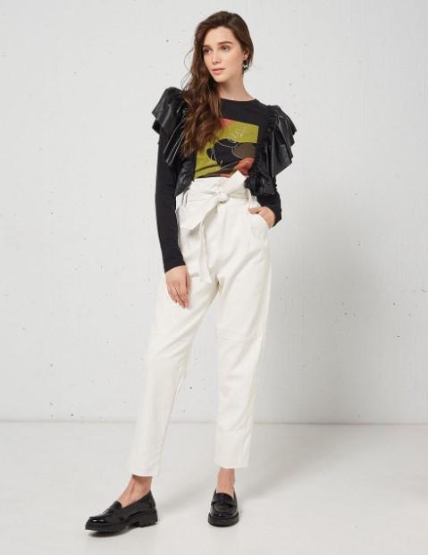 άσπρο δερμάτινο παντελόνι