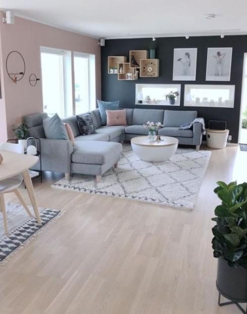 μεγάλο σαλόνι μεγάλος γωνιακός γκρι καναπές