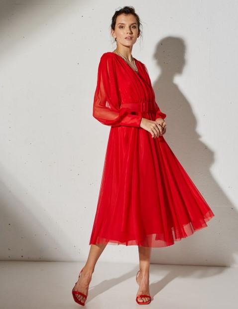 κόκκινο μίντι φόρεμα