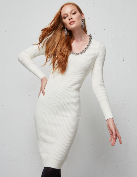 λευκό πλεκτό φόρεμα BSB χειμώνα 2022