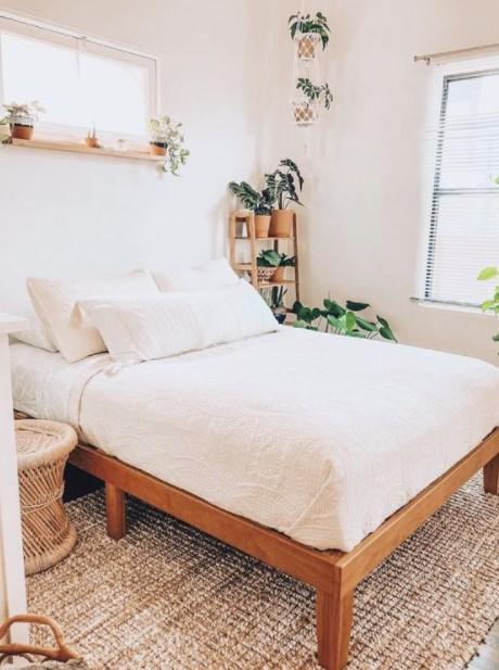 μίνιμαλ κρεβατοκάμαρα φυτά διακοσμητικά υπνοδωμάτιο