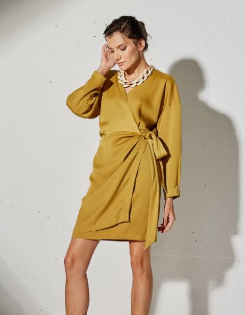 μουσταρδί μίνι φόρεμα BSB χειμώνα 2022