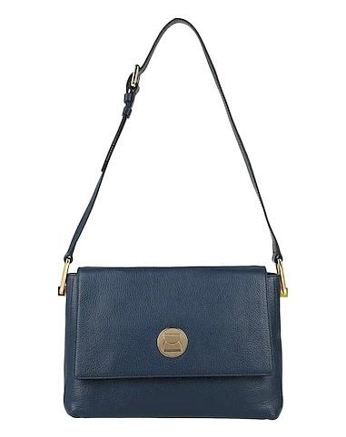 μπλε δερμάτινη τσάντα