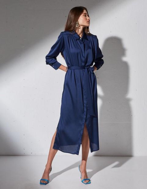 μπλε φόρεμα μίντι
