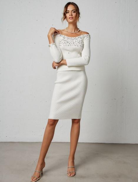 πλεκτή άσπρη φούστα