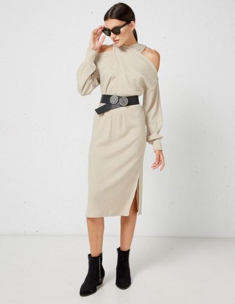 πλεκτό λούρεξ φόρεμα