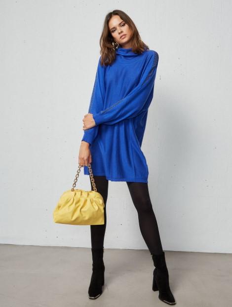 πλεκτό μπλε φόρεμα