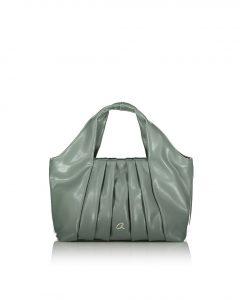 πράσινη τσάντα χειρός με σούρες