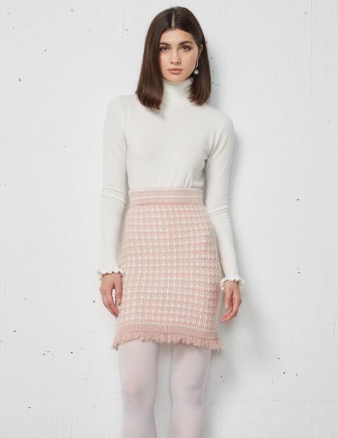 ροζ πλεκτή φούστα BSB χειμώνα 2022