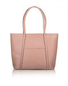 ροζ τσάντα ώμου από συνθετικό δέρμα